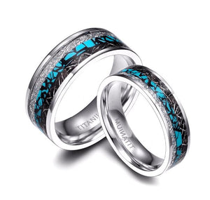 Promise Rings - 6mm/8mm Etched Silver & Blue Rock Couples Rings