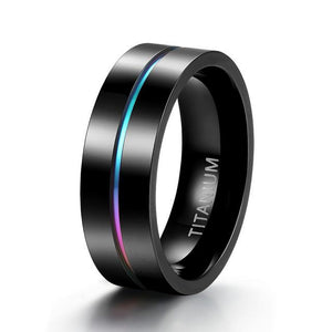 Promise Rings - 7mm Colorful Inlay Black Titanium Mens Ring