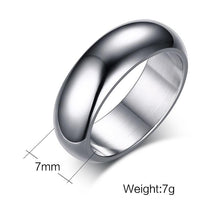 Promise Rings - 7mm Dome Arc Stainless Steel Unisex Ring (5 Colors)