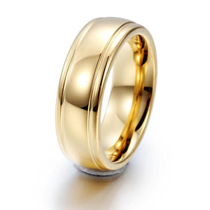 Promise Rings - 7mm Gold Color Tungsten Mens Ring