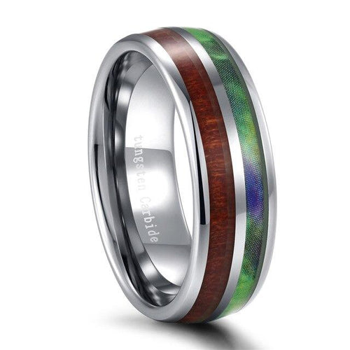 Promise Rings - 7mm Green Nature Earth Tones Design Tungsten Unisex Ring