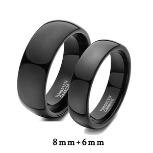 Promise Rings - 8mm & 6mm Flat Brushed Black Tungsten Couples Rings - 2 Engravings