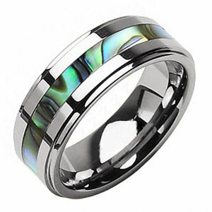 Promise Rings - 8mm Abalone Shell Inlay Silver Tungsten Mens Ring