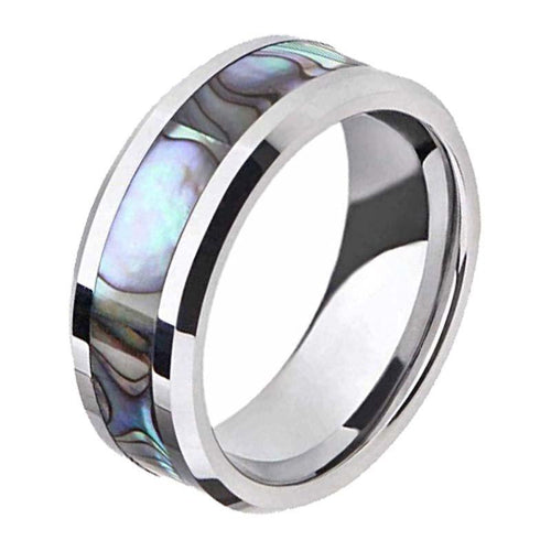 Promise Rings - 8mm Abalone Shell Inlay Titanium Silver Unisex Ring