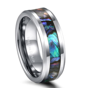 Promise Rings - 8mm Abalone Shell Silver Tungsten Mens Ring