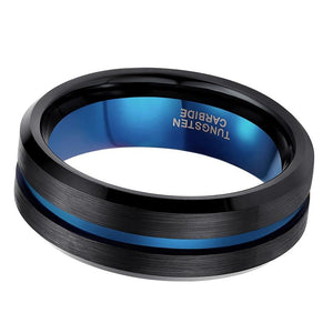 Promise Rings - 8mm Black Blue Matte Finish Tungsten Mens Ring