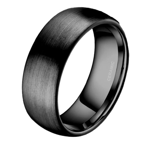 Promise Rings - 8mm Black Brushed Dome Ceramic Mens Ring - 1 Engraving