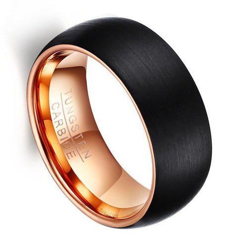 Promise Rings - 8mm Black Brushed & Rose Gold Domed Tungsten Mens Ring