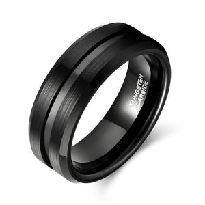 Promise Rings - 8mm Jet Black Brushed Tungsten Mens Ring