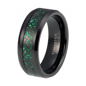 Promise Rings - 8mm Black Chinese Dragon Green Inlay Tungsten Mens Ring