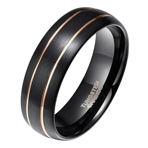 Promise Rings - 8mm Black & Double Gold Line Inlay Tungsten Mens Ring