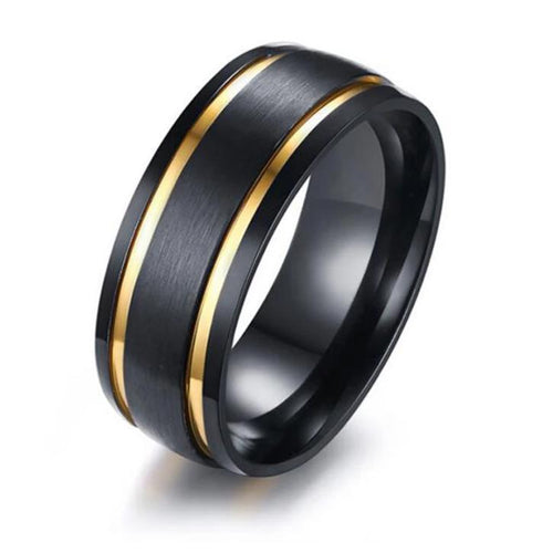 Promise Rings - 8mm Black & Double Golden Groove Stainless Steel Mens Ring