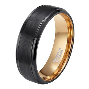 Promise Rings - 8mm Black Gold Plated Tungsten Mens Ring