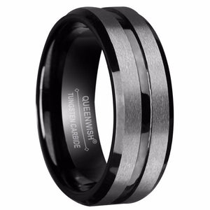 Promise Rings - 8mm Black Gun Tungsten Mens Ring