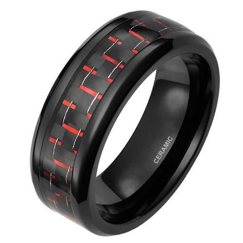 Promise Rings - 8mm Black & Red Carbon Fiber Inlay Mens Ring