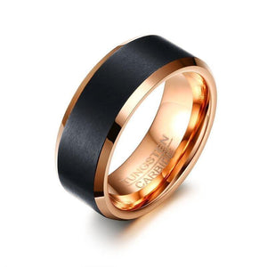Promise Rings - 8mm Black & Rose Gold Color Tungsten Men's Ring