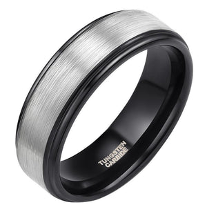 Promise Rings - 8mm Black & Silver Brushed Mens Ring