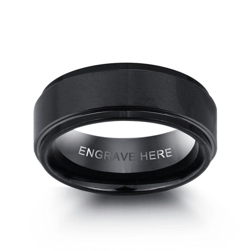 Promise Rings - 8mm Black Stainless Steel + 1 Personalized Engraving Mens Ring