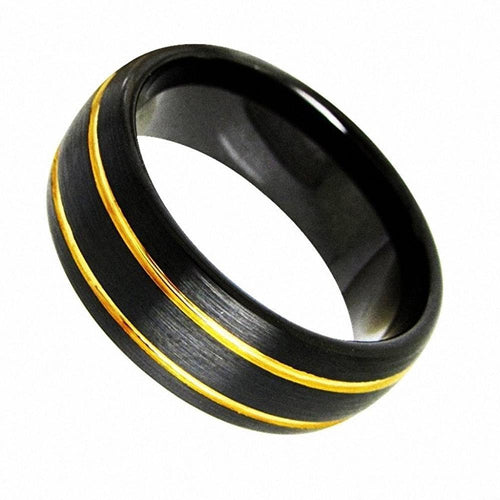 Promise Rings - 8mm Black Brushed Dome Tungsten Mens Ring