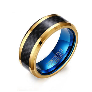 Promise Rings - 8mm Blue and Gold Plated Black Tungsten Mens Ring