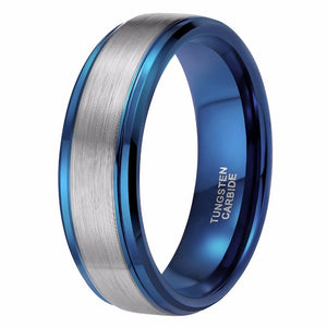 Promise Rings - 8mm Blue and Silver High Polish Tungsten Mens Ring