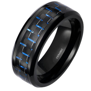 Promise Rings - 8mm Blue & Black Carbon Fiber Inlay Ceramic Mens Ring