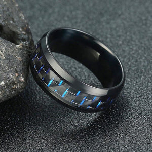 Promise Rings - 8mm Blue & Black Carbon Fiber Inlay Stainless Steel Mens Ring