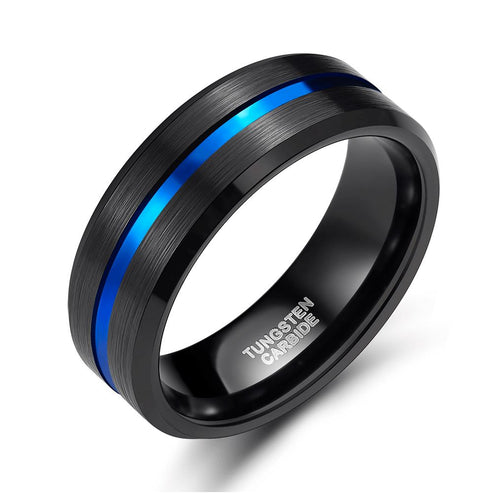 Promise Rings - 8mm Blue Centre Groove Black Brushed Tungsten Mens Ring