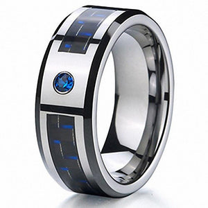Promise Rings - 8mm Black & Blue Tungsten Mens Ring