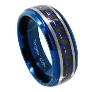 Promise Rings - 8mm Blue Double Silver Band Mens Ring