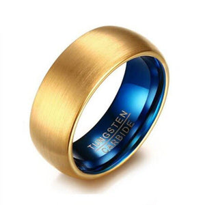 Promise Rings - 8mm Blue & Gold Color Tungsten Mens Ring