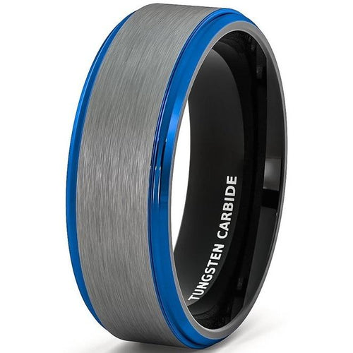 Promise Rings - 8mm Blue Polished Edge & Silver Matte Mens Ring