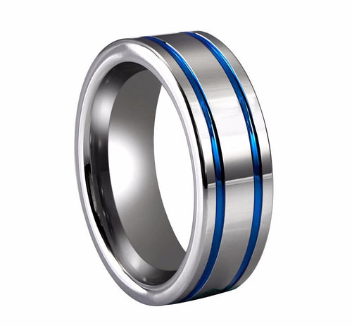 Promise Rings - 8mm Blue Stripes Polished Silver Tungsten Mens Ring