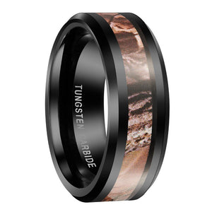 Promise Rings - 8mm Camouflage Forest Black Tungsten Mens Ring