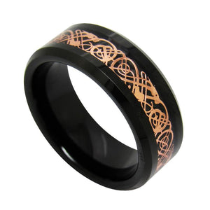 Promise Rings - 8mm Celtic Dragon Rose Gold Tungsten Mens Ring