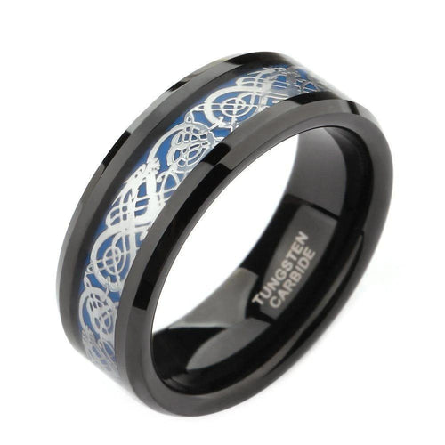 Promise Rings - 8mm Celtic Dragon Silver Blue Black Tungsten Unisex RIng