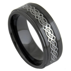 Promise Rings - 8mm Celtic Knot High Polished Black Ceramic Unisex Ring