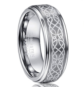 Promise Rings - 8mm Celtic Knot Silver Tungsten Men's Ring
