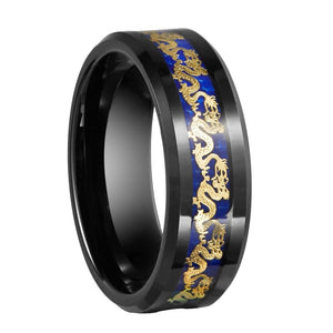 Promise Rings - 8mm Chinese Traditional Golden Dragon Blue & Black Mens Ring