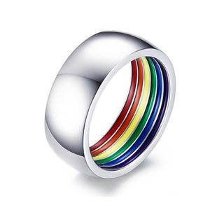 Promise Rings - 8mm Colorful Inner Rainbow Stainless Steel Silver Unisex Ring