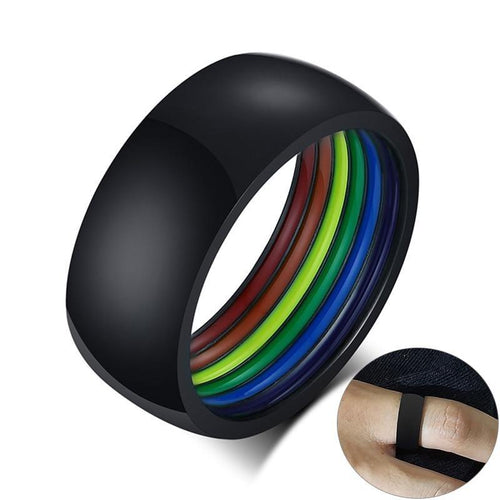 Promise Rings - 8mm Colorful Inner Rainbow Stainless Steel Unisex Ring (3 colors)