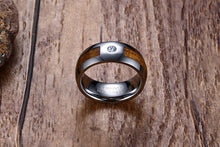 Promise Rings - 8mm Cubic Zirconia, Wood & Silver Tungsten Mens Ring
