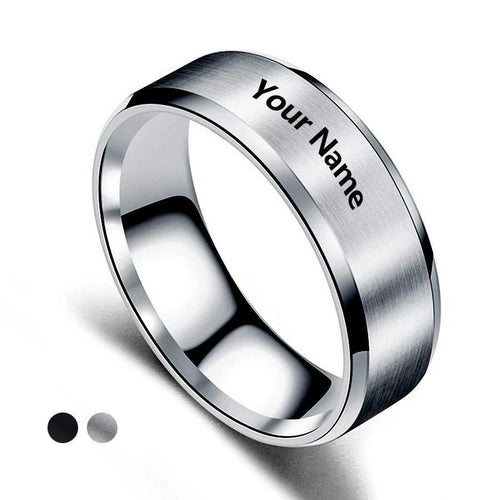 Promise Rings - 8mm Customized Engraved Text Unisex Titanium Rings (2 Colors)