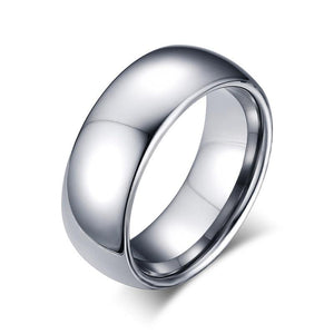 Promise Rings - 8mm Domed Polished Tungsten Unisex Rings (3 colors)