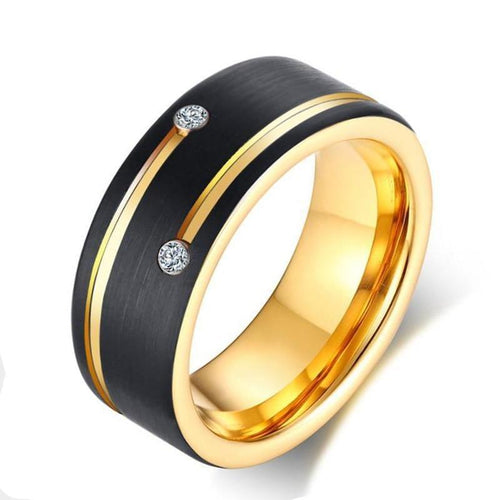 Promise Rings - 8mm Double Cubic Zirconia Black & Gold Color Tungsten Mens Ring - 1 Engraving