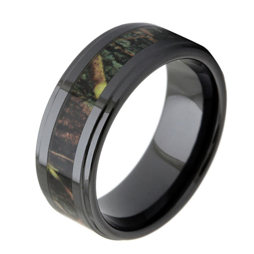 Promise Rings - 8mm Forest Nature Camo Inlay Black Ceramic Mens Ring