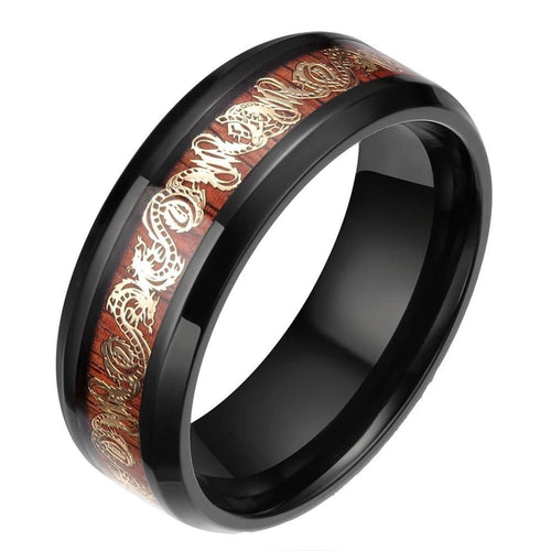 Promise Rings - 8mm Golden Dragon Wood Inlay Black Titanium Mens Ring
