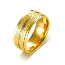 Promise Rings - 8mm Golden Sand Surfaces Stainless Steel Unisex Ring