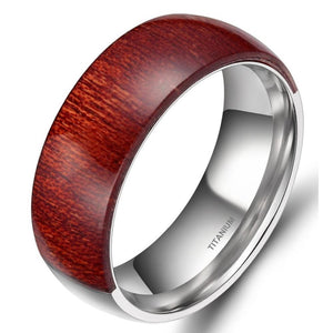 Promise Rings - 8mm Half Wooden & Half Silver Titanium Mens Ring