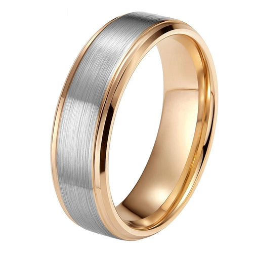 Promise Rings - 8mm High Polished Silver & Gold Tungsten Mens Ring